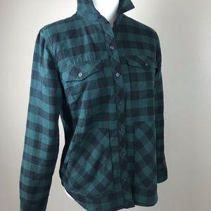 Eddie Bauer Forrest Green Sherpa Lined Flannel